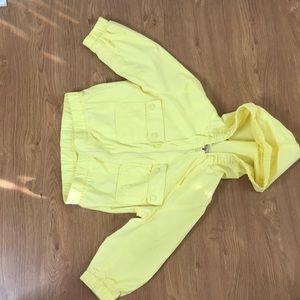 Yellow 3 quarter Crop Top Hoody Jacket Size XL